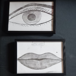 Cadre dessin fusain nos sens